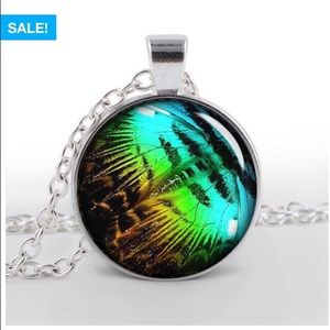 Butterfly wing glass pendant with chain