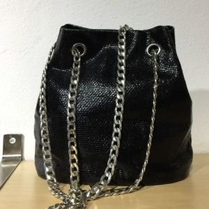 Bucket purse fake snake shiny material black new