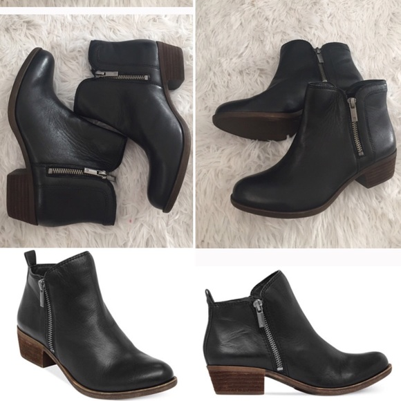 8afb35dcf Lucky Brand Shoes | Basel Bootie In Black With Double Zipper | Poshmark