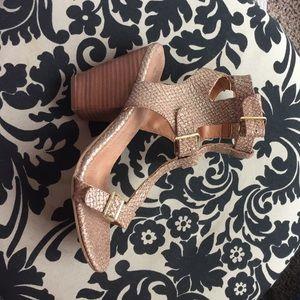 Seychelles Shoes - Amazing gold snake skin print heels