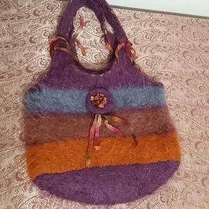 Felted wool hobo style bag