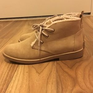 Seven Dials Shoes - Sueded natural tan booties with faux fur lining