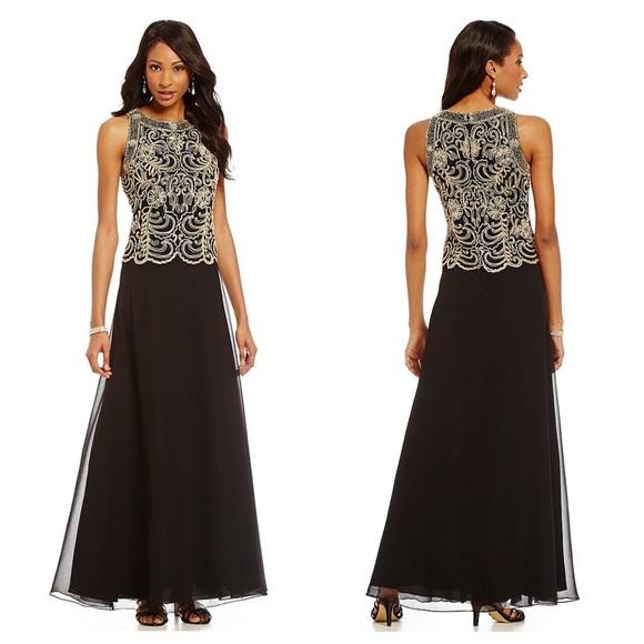 JKARA Dresses | Petite Beaded Chiffon Gown New Without Tags | Poshmark