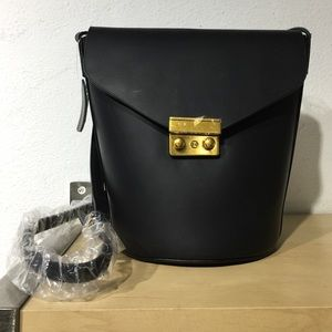 Bucket bag matte material black shoulder bag