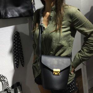 Bucket bag matte material black shoulder bag