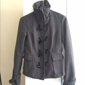 Grey toggle duffle button wool peacoat size s