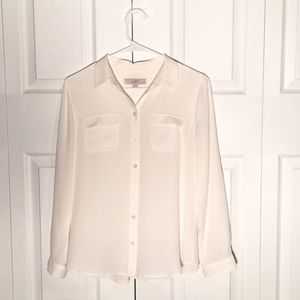 LOFT Tops - Shimmer white utility blouse - Loft