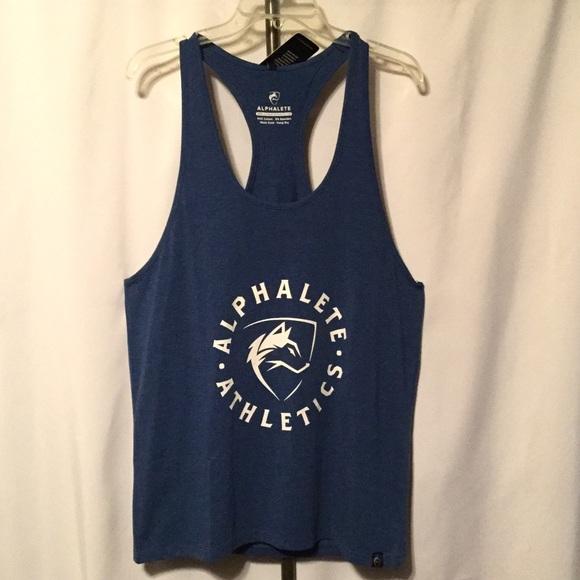 d557b7e01bfc6b Blue Performance Stringer Back Wolf Muscle Shirt