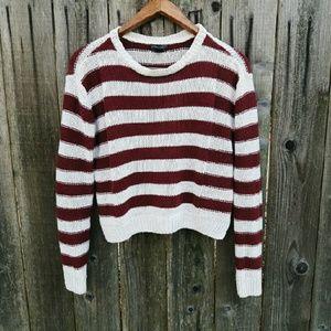 FINAL - CLEARANCEF21 Maroon Striped Sweater