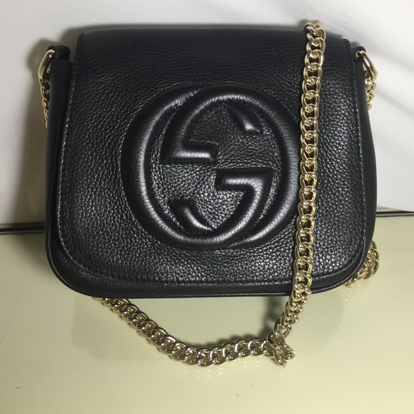 80714ebd2 Gucci Bags | Soho Black Genuine Leather Gold Chain Bag | Poshmark