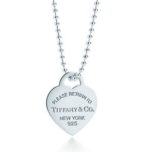 """Tiffany & Co. Heart Dog Tag Necklace 34"""" Chain"""