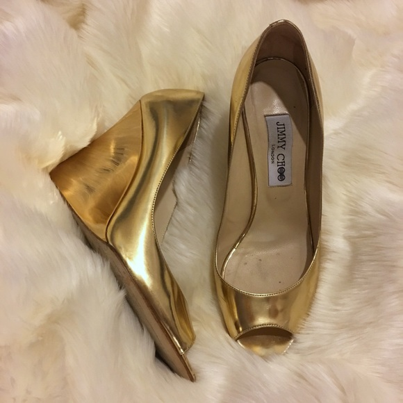 Jimmy Choo Shoes - Gold Jimmy Choo Peep Toe Bello Wedge
