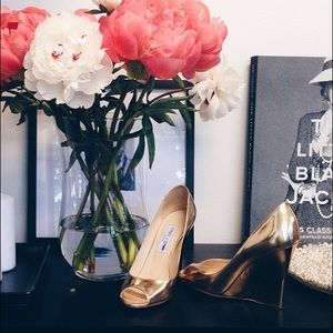Gold Jimmy Choo Peep Toe Bello Wedge