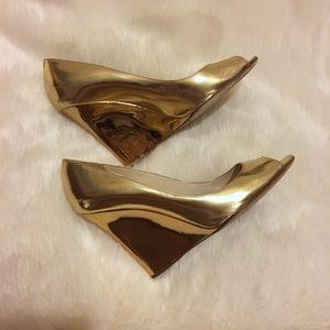 Jimmy Choo Shoes - Gold Jimmy Choo Peep Toe Bello Wedge