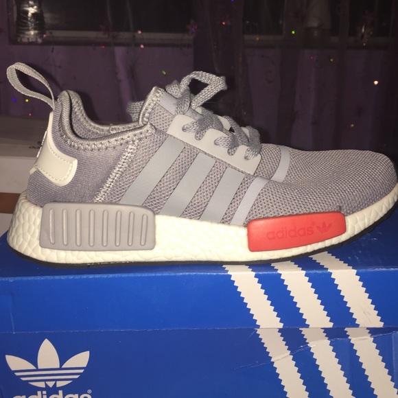 le adidas nmd grey con red block poshmark