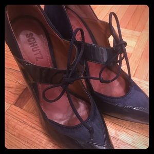 Schultz Shoes - Navy Schultz 8.5 Curved Patent Leather/Suede Heels