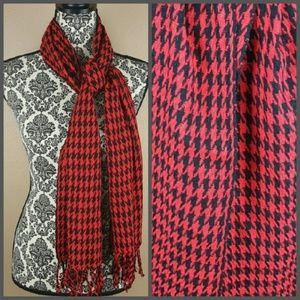 Accessories - Black and Red Fringe Scarf