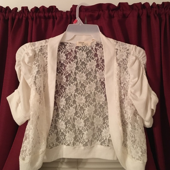 50% off Allison Brittney Sweaters - Off-white Lace cardigan with ...