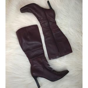 Shoes - Gorgeous Oxblood Knee High Boots Vegan Leather 6.5