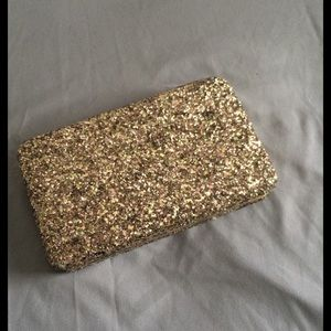 Handbags - Gold glitter wallet clutch
