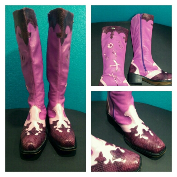 9b6f692c1a62 Buffalo London Shoes - Buffalo London Purple Cowboy Boots
