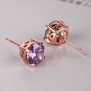 Boutique Jewelry - 7mm Light Purple Swarovski & 18K Rose Gold Studs
