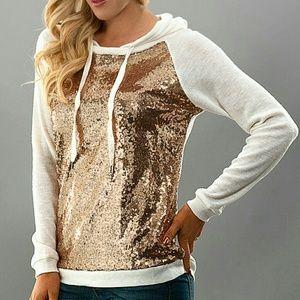 << Gold Sequin Front Hoodie Top >>