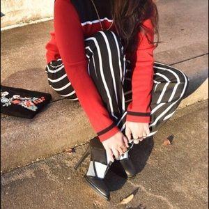 Boohoo Pants - B&W Striped Jogger Pants