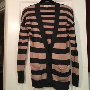 LOFT long striped cardigan sweater