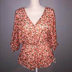 Tops - NWT Sheer Orange Print Blouse