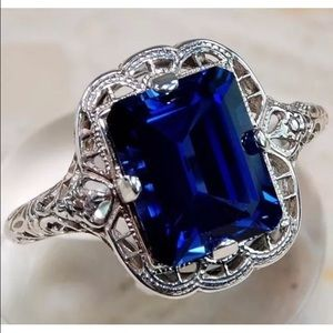 Jewelry - Sterling Silver Filigree Sapphire Ring