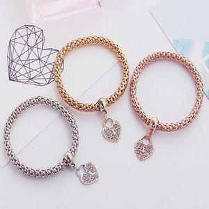 Jewelry - 3PC Rhinestone Heart Bracelet set