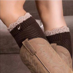 Accessories - Brown Scallop Top Button Detail Knit Boot Cuffs