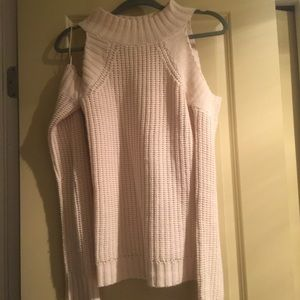White open shoulder sweater
