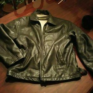 Dockers Other - Black leather Dockers bomber jacket