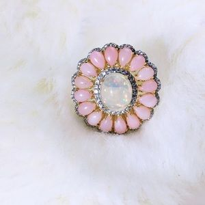Gorgeous opal and gemstone vermeil ring