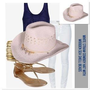 🐎 White Straw Cowboy Hat, NWOT