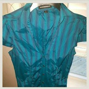 🏞Express teal stretch fitted shirt dress🏞