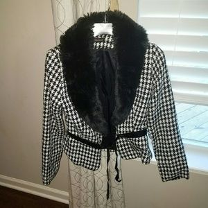 Houndstooth fur blazer jacket