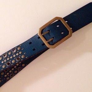 Linea Pelle Accessories - LINEA PELLE studded belt leather & brass buckle