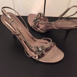 2 Lips Too Shoes - Stunning pewter colored jeweled open toe heel!