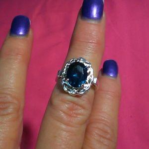 Jewelry - 925 STERLING SILVER AQUA FASHION RING SZ 8