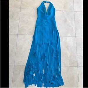 Herve Leger Dresses & Skirts - Herve Leger Rebekah Fringe Dress size XS Blue long