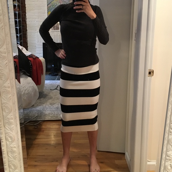 0ca9c2dc8f Milly Skirts | Black And White Striped Pencil Skirt | Poshmark
