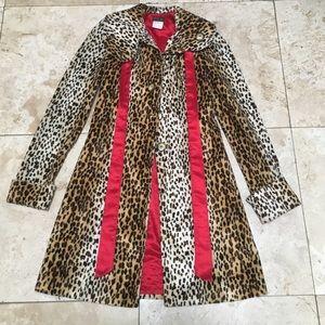 Cheetah faux fur & Red silk Trench