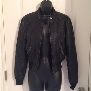 H&M Jackets & Blazers - Well loved faux leather moto jacket - Sz 8