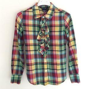 Ralph Lauren girls ruffle plaid shirt