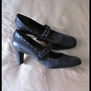 Naturalizer Shoes - Leather! Chic Black Mary Jane W/Strap & Button