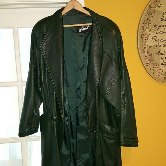 5e41fd2c87e Jackets & Coats | Vintage Dark Green Leather Trench Coat | Poshmark