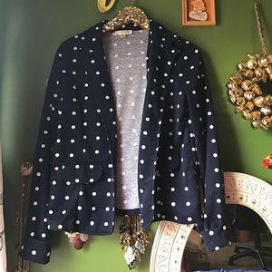 Kenar Jackets & Blazers - Navy Polka Dot Blazer